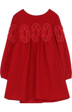 Мини-платье свободного кроя с кружевной отделкой | Фото №1