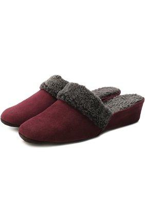 Замшевые домашние туфли с внутренней отделкой из овчины Homers At Home бордовые | Фото №1