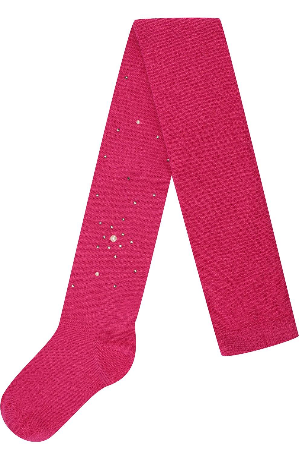Детские колготки из хлопка с жемчужинами LA PERLA розового цвета, арт. 47718/4-6 | Фото 1
