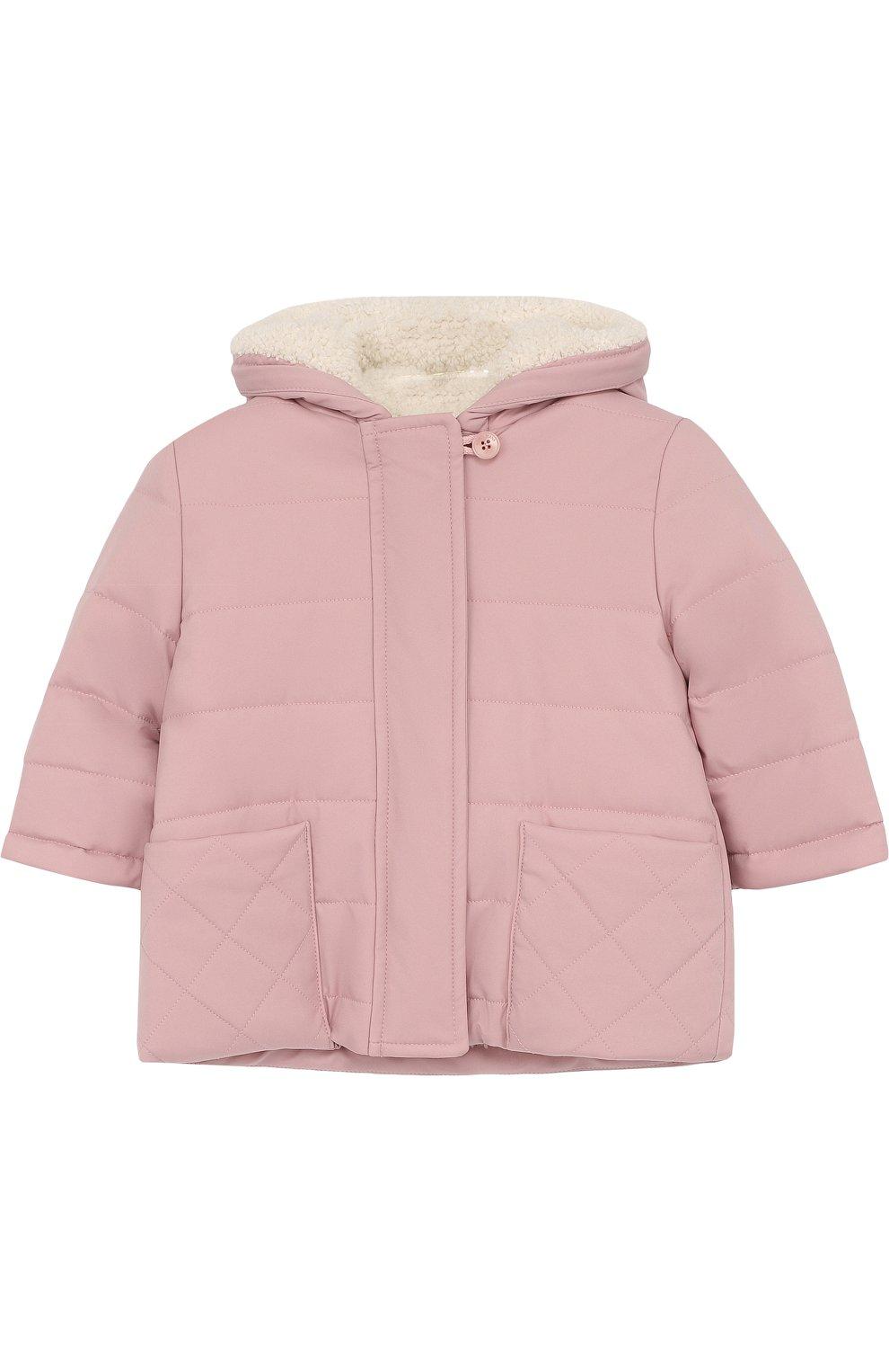 Детского утепленная куртка с капюшоном LORO PIANA розового цвета, арт. FAG3867   Фото 1