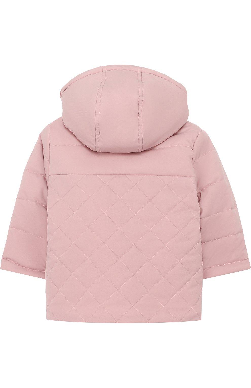 Детского утепленная куртка с капюшоном LORO PIANA розового цвета, арт. FAG3867   Фото 2