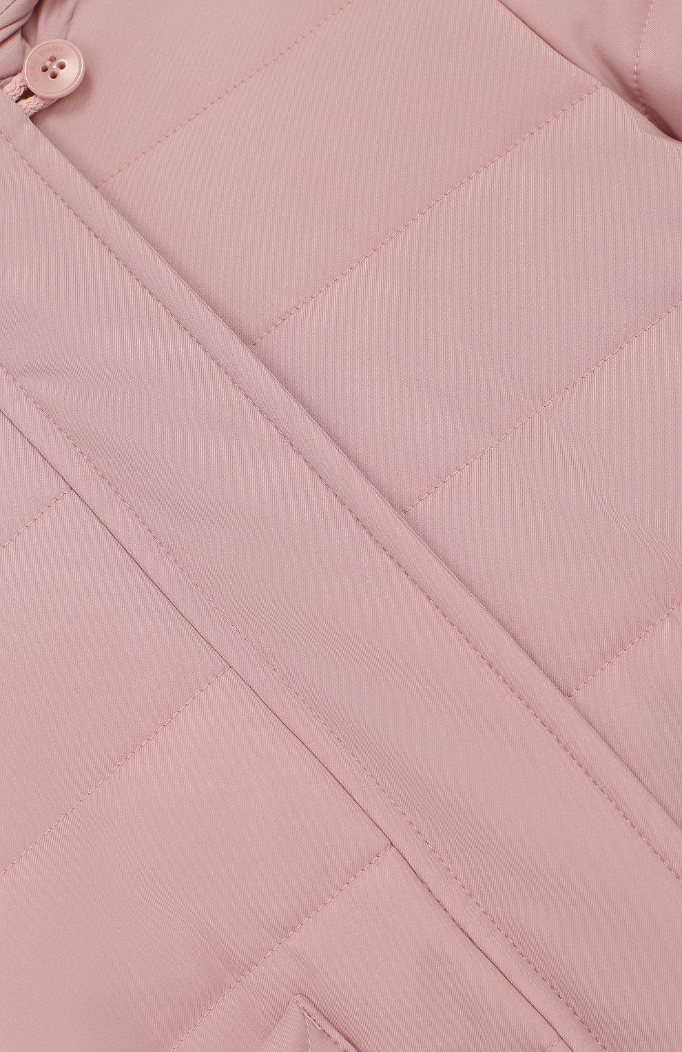Детского утепленная куртка с капюшоном LORO PIANA розового цвета, арт. FAG3867   Фото 3