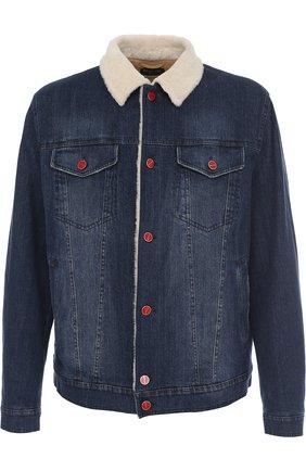 Мужская джинсовая куртка с меховой подкладкой KITON темно-синего цвета, арт. UW0319V03P19 | Фото 1