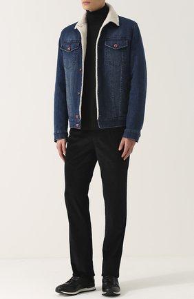 Мужская джинсовая куртка с меховой подкладкой KITON темно-синего цвета, арт. UW0319V03P19 | Фото 2