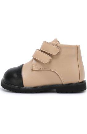 Детские кожаные ботинки с застежками велькро Age of Innocence бежевого цвета   Фото №1