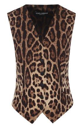Приталенный жилет с леопардовым принтом | Фото №1