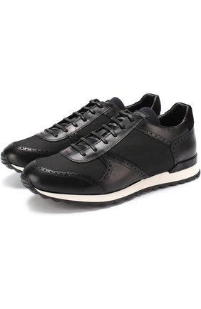 Мужские комбинированные кроссовки на шнуровке KITON черного цвета, арт. USSARGN00357 | Фото 1