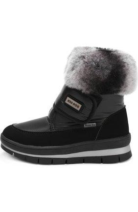 Детские текстильные ботинки с меховой отделкой и застежками велькро Jog Dog черного цвета | Фото №1