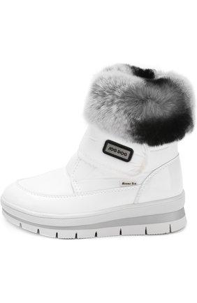 Детские текстильные ботинки с меховой отделкой и застежками велькро Jog Dog белого цвета | Фото №1