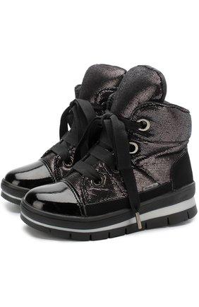 Детские ботинки с текстильной отделкой на шнуровке Jog Dog черного цвета | Фото №1