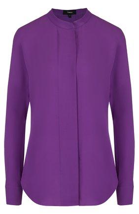 Шелковая блуза прямого кроя с воротником-стойкой | Фото №1
