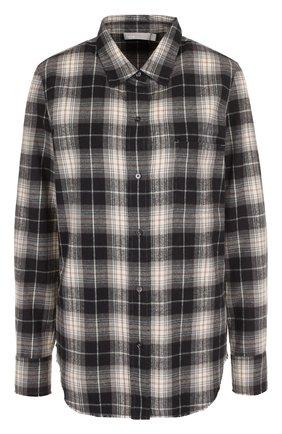 Женская хлопковая блуза прямого кроя в клетку Vince, цвет серо-бежевый, арт. V453611950 в ЦУМ | Фото №1
