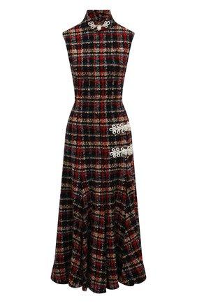 Приталенное буклированное платье-миди Alessandra Rich разноцветное | Фото №1