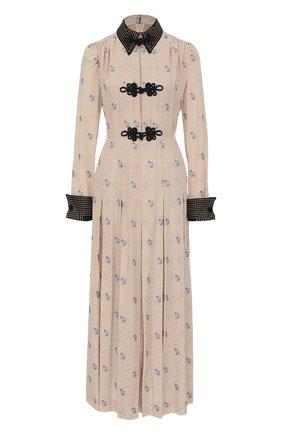 Приталенное шелковое платье-рубашка Alessandra Rich бежевое | Фото №1