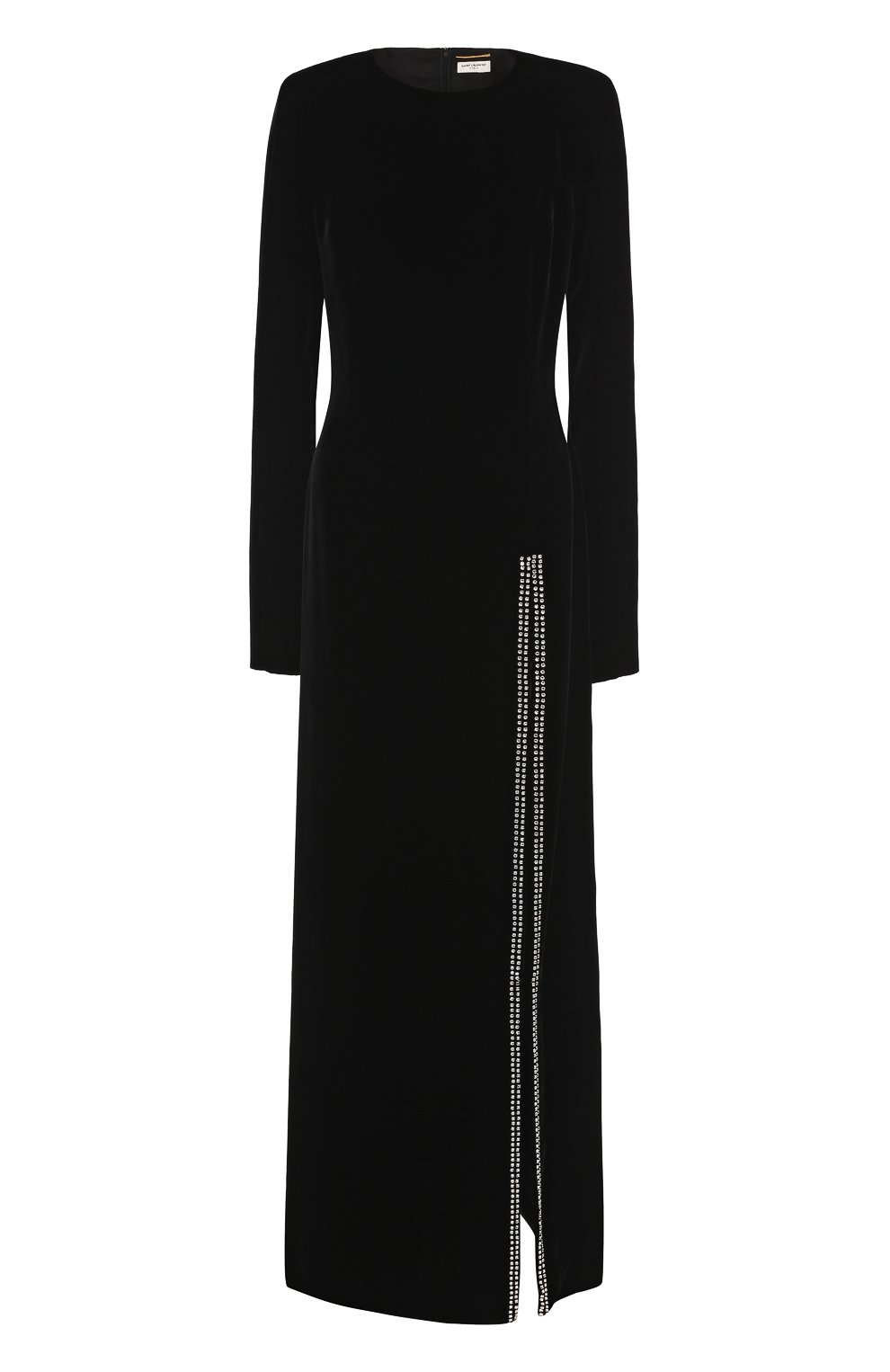 1e5d801ee1ba Женское черное бархатное платье-макси с высоким разрезом SAINT ...