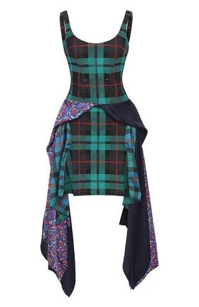 Приталенное мини-платье в клетку Esteban Cortazar зеленое   Фото №1