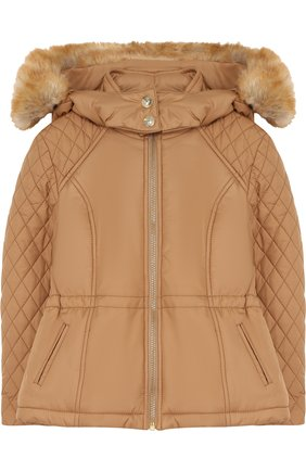 Куртка с прострочкой и отделкой на капюшоне | Фото №1