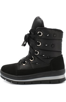 Детские текстильные ботинки с замшевой отделкой и кристаллами Jog Dog синего цвета | Фото №1