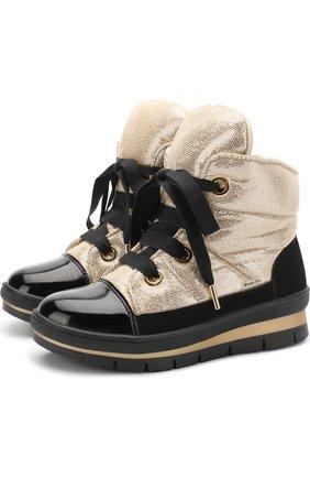 Детские ботинки с текстильной отделкой на шнуровке Jog Dog золотого цвета | Фото №1