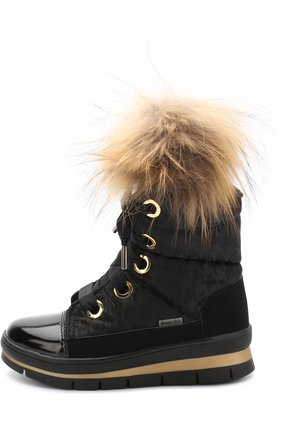 Детские текстильные ботинки с меховой отделкой Jog Dog черного цвета | Фото №1