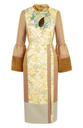 Платье-миди с завышенной талией и воротником-стойкой | Фото №1