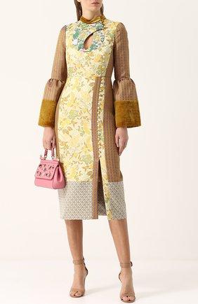 Платье-миди с завышенной талией и воротником-стойкой Erdem бежевое | Фото №1