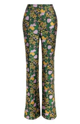 Расклешенные брюки со стрелками Erdem зеленые | Фото №1