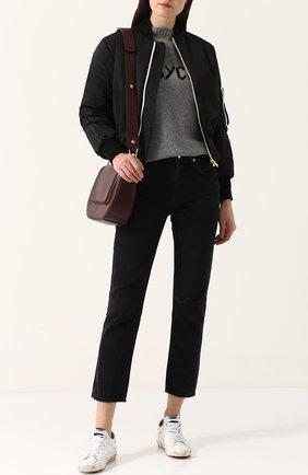 Укороченные джинсы прямого кроя с потертостями Agolde черные | Фото №1