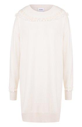 Кашемировое мини-платье с длинным рукавом Barrie белое | Фото №1