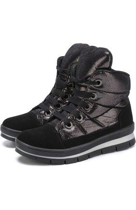 Комбинированные утепленные ботинки на шнуровке | Фото №1