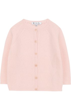 Детский кашемировый кардиган фактурной вязки LORO PIANA розового цвета, арт. FAG3927 | Фото 1