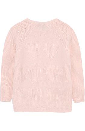 Детский кашемировый кардиган фактурной вязки LORO PIANA розового цвета, арт. FAG3927 | Фото 2