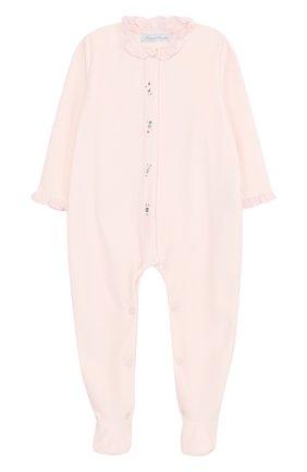 Детский хлопковый комбинезон с оборками и стразами TARTINE ET CHOCOLAT розового цвета, арт. TK54031/2A-3A | Фото 1