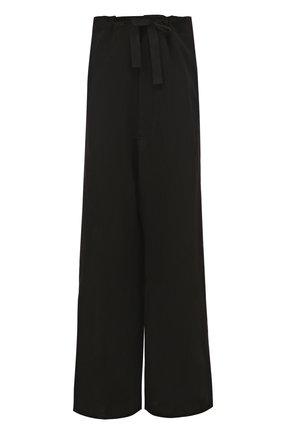 Шерстяные брюки свободного кроя с поясом на кулиске Ann Demeulemeester черные | Фото №1