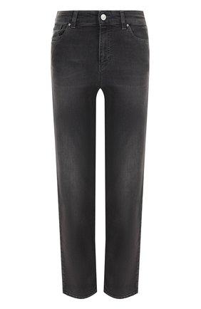 Укороченные джинсы прямого кроя с потертостями Armani Jeans темно-серые | Фото №1