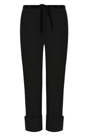 Шерстяные однотонные брюки с отворотами Ann Demeulemeester черные | Фото №1
