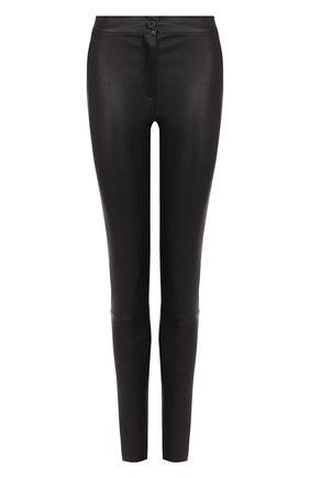 Однотонные кожаные брюки-скинни Ann Demeulemeester черные | Фото №1