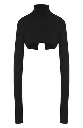 Укороченный шерстяной свитер с высоким воротником Ann Demeulemeester черный | Фото №1