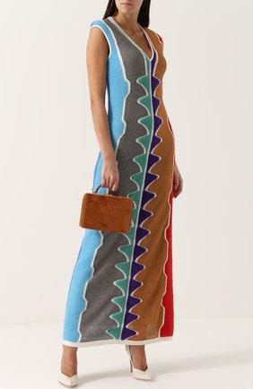 Вязаное платье-макси с принтом и V-образным вырезом Missoni разноцветное | Фото №1