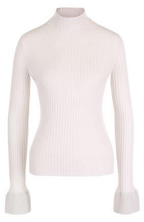 Шерстяной приталенный свитер с высоким воротником   Фото №1