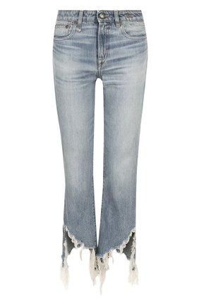 Укороченные расклешенные брюки с потертостями R13 синие   Фото №1