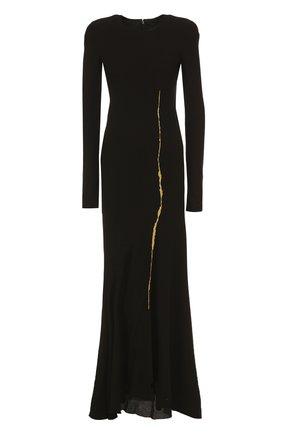 Приталенное платье-макси с длинным рукавом   Фото №1