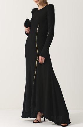 Приталенное платье-макси с длинным рукавом Haider Ackermann черное | Фото №1