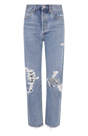 Укороченные джинсы прямого кроя с потертостями   Фото №1