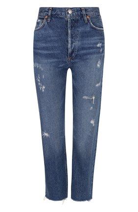 Укороченные джинсы с потертостями Agolde синие | Фото №1