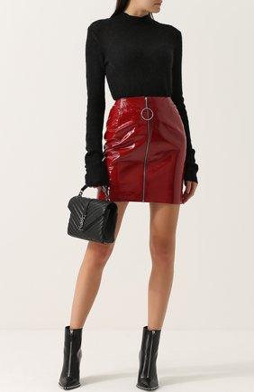 Однотонная кожаная мини-юбка Mugler красная | Фото №1