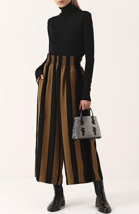 Укороченные широкие брюки с эластичным поясом Forte_forte черные   Фото №1