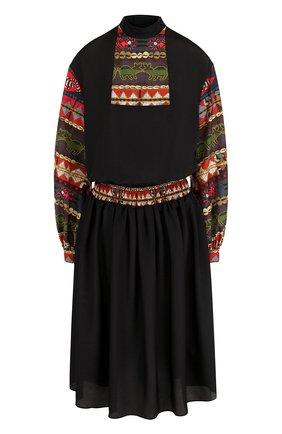 Приталенное платье-миди с длинным рукавом | Фото №1