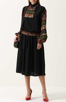 Приталенное платье-миди с длинным рукавом Stella Jean черное   Фото №1