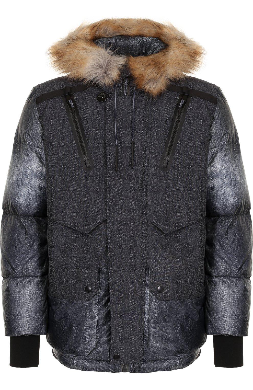 Утепленная куртка на молнии с капюшоном   Фото №1